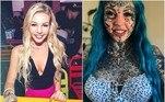 A australiana Amber Luke tem 98% do corpo tatuado e decidiu abrir espaço para mais uma tatuagem. No Instagram, onde reúne mais de 57 mil seguidores, ela faz sucesso com as fotos em que exibe o visual exótico e ficou conhecida como
