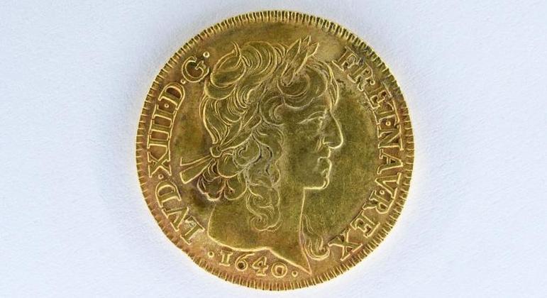 Moeda de ouro cunhada em 1640 e avaliada em 15 mil euro
