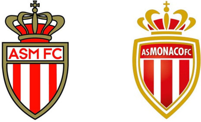 Monaco - Escudo do francês Monaco mudou em 2013 para mostrar a nova fase que o clube estava vivendo e também modernizar o logo