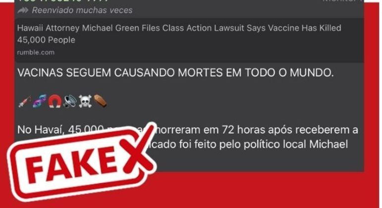 Mensagem trazia informações falsas sobre a vacinação contra a Covid-19 nos Estados Unidos