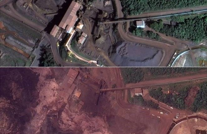 Imagens aéreas mostram antes e depois da tragédia de