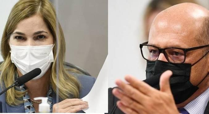 A secretária do Ministério da Saúde, Mayra Pinheiro, e o diretor do Butantan, Dimas Covas