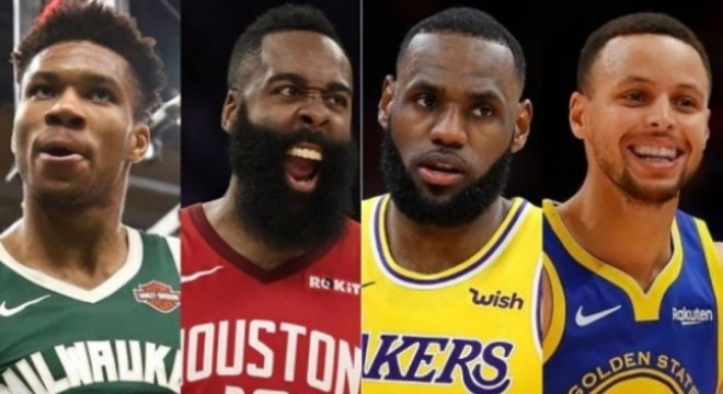 Montagem - Giannis Antetokounmpo (Milwaukee Bucks), James Harden (Houston Rockets), LeBron James (Lakers) e Stephen Curry (Golden State Warriors)