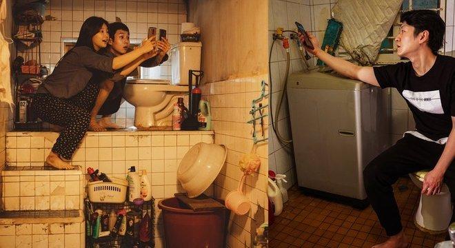 O banheiro dos Kim em 'Parasita' (à esq.) é uma representação bastante fiel da versão real de Oh (à dir.)