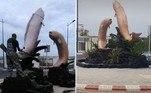Um monumento com peixes bizarros erguido emMehdia, no Marrocos, teve que ser demolido após enorme indignação online
