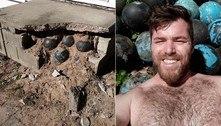 Morador descobre dezenas de bolas de boliche empilhadas sob a casa