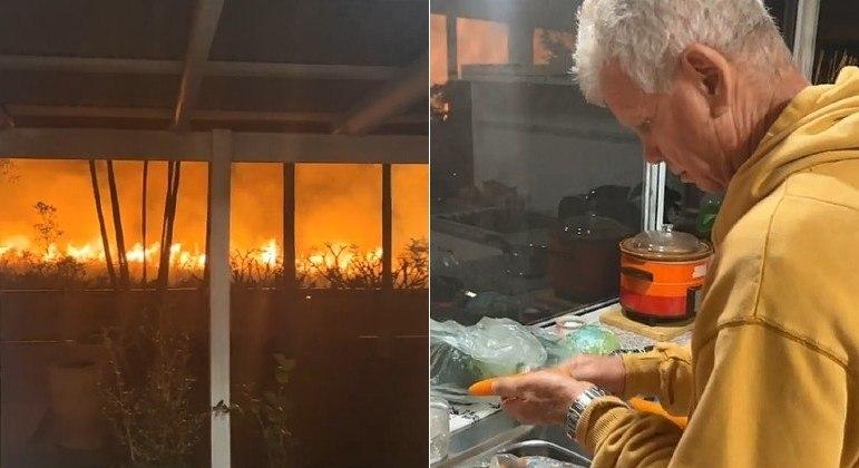 Morador foi flagrado descascando cenouras a poucos metros de incêndio devastador