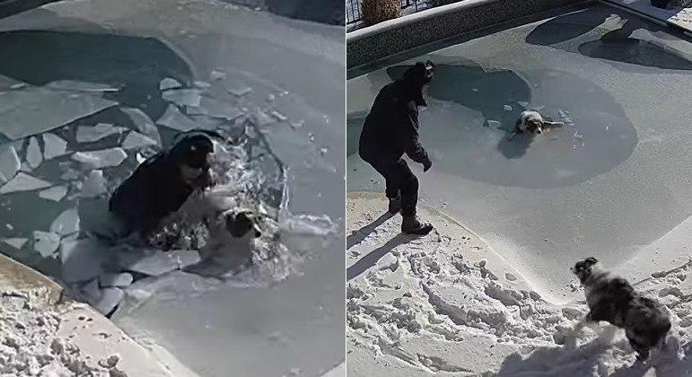 Morador de Southlake, no Texas (EUA), mergulhou em piscina congelada para resgatar o cachorro