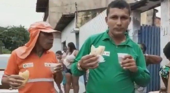 Trabalhadores foram recebidos sob aplausos pelos moradores