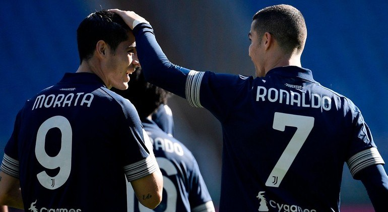 Morata e Cristiano Ronaldo, excelentes parceiros