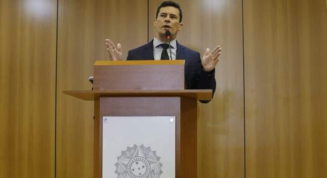 O ministro Sérgio Moro, ao apresentar seu pacote anticrime em Brasília