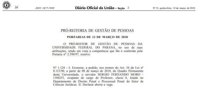 Publicação do Diário Oficial da União que formaliza a exoneração de Moro