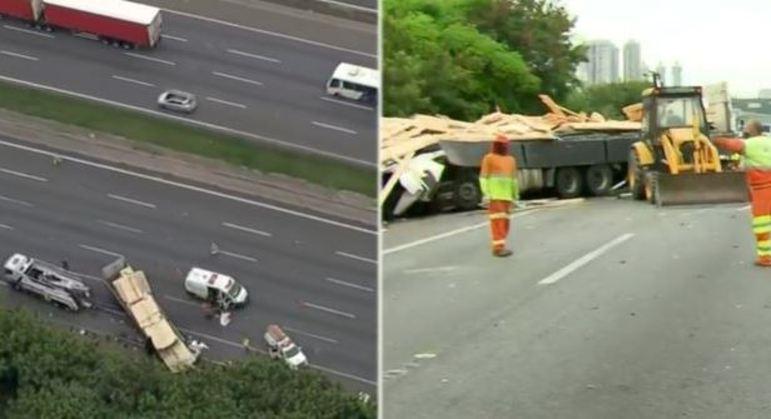 Homem morre em acidente entre caminhão e guindaste no Rodoanel