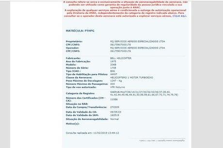 Informações oficiais sobre o helicóptero