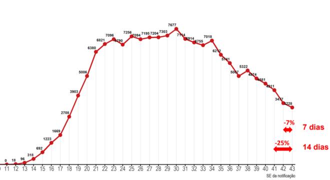 Gráfico do Ministério da Saúde mostra número de mortes semanais por covid-19
