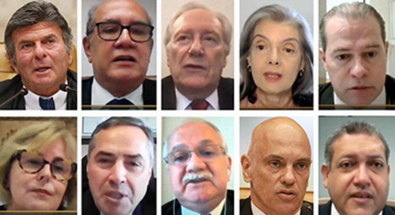 Mosaico com ministros do STF durante sessão por videconferência: Corte está em regime de plantão desde a última sexta-feira (2)