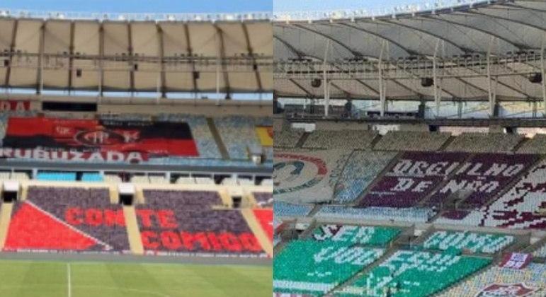 Mosaicos das torcidas deram cor ao Maracanã neste sábado