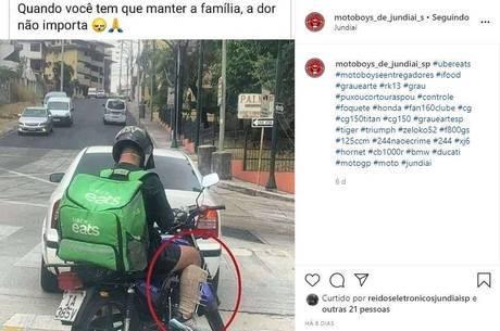 'Quando você tem que manter a família, a dor não importa', escreve perfil de motoboys em rede social