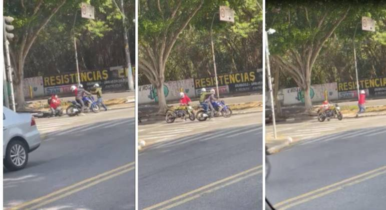 Dois criminosos deixam o terceiro sozinho, que desiste de roubar a moto e sai correndo