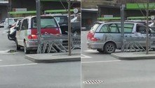 Motorista manobra carro dentro de vaga ao invés de engatar a ré