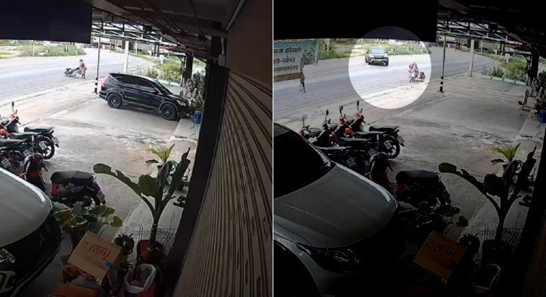 Motorista perdeu a direção, saiu da estrada e ainda conseguiu estacionar com maestria