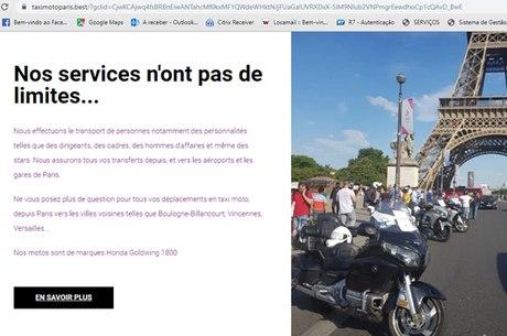 cidade de Paris conta com serviço de  mototáxi, mas lá a moto é uma Honda Gold Wing