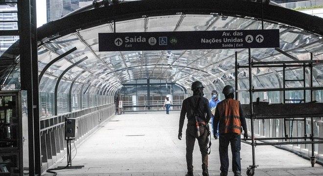 Um dos canteiro de obras da Linha 17-Ouro, do  monotrilho localizado na zona sul da capital paulista
