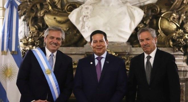 O vice-presidente Hamilton Mourão na posse de Alberto Fernández