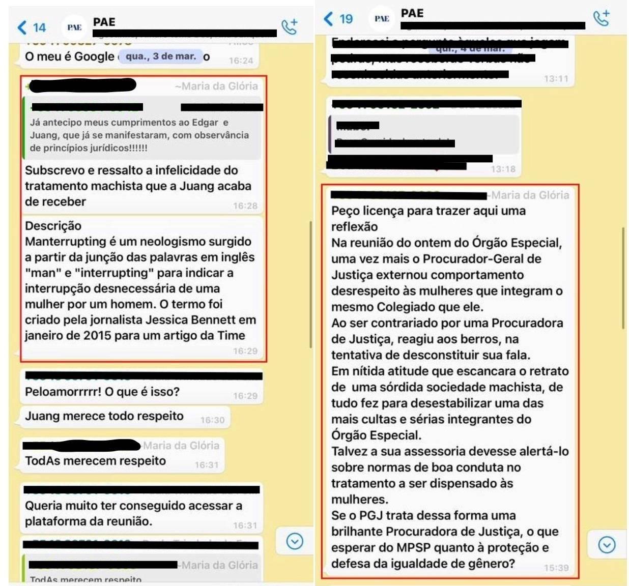 Procuradora divulgou mensagens criticando atitude do Procurador-Geral de Justiça