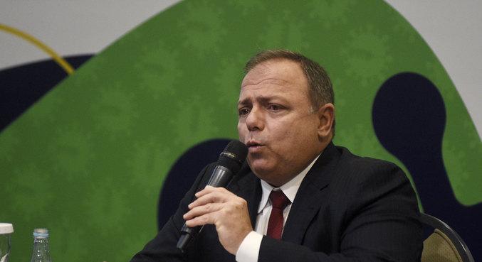 O ministro da Saúde, Eduardo Pazuello, que presta depoimento à PF