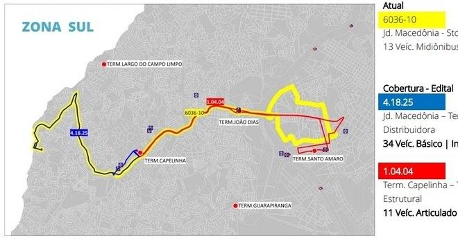 Exemplo de mudança: mesmo itinerário seria realizado por dois ônibus distintos