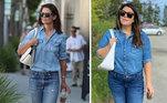 Katie Holmes também é uma fã de jeans! Neste look, a bolsa branca ajuda a completar o ar despojado
