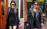 No look inspirado na modelo Kendall Jenner, a influencer apostou em um sobretudo e uma bota cano longo para complementar a composição all black