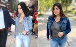 Para chegar ao estilo da atriz Mila Kunis, a influencer usou peças básicas: jaqueta e calça jeans