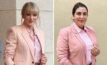 Um blazer rosa e um short de paetês entregam o estilo romântico da cantora Taylor Swift