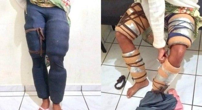 Mulher tentou viajar com cinco quilos de maconha presos às pernas