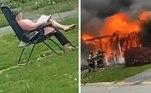 Uma mulher foi presa em Maryland, Estados Unidos, após incendiar uma casa com outra mulher dentro, colocar uma cadeira no jardim e assistir tudo. Ela até tinha um livro na mão, para o caso do incêndio ficar tedioso