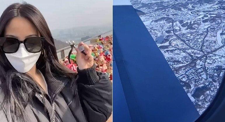 Após viagem de 9,5 mil km, a jovem acima removeu um cadeado colocado em torre com o ex