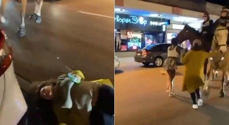 Mulher foi nocauteada por cavalo de polícia durante folia na madrugada de Perth, na Austrália
