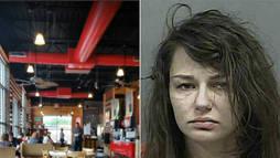 Mulher seminua cai duas vezes do teto de lanchonete e acaba presa pela polícia ()