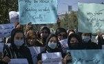 Mulheres protestam em Cabul, em 08/09/2021