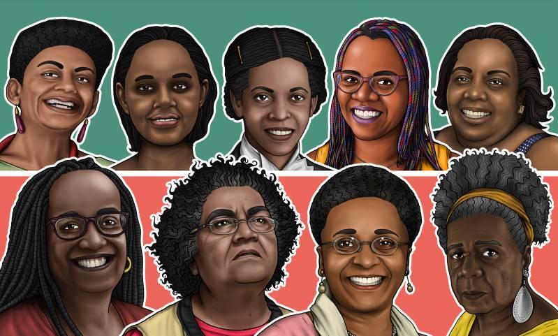Nove das 15 mulheres que tiveram suas trajetórias contadas no livro