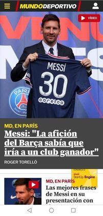Mundo Deportivo, jornal catalão, destaca frase de Messi durante apresentação no PSG sobre o Barcelona