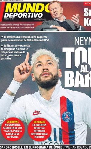 Neymar é capa do jornal desta segunda-feira