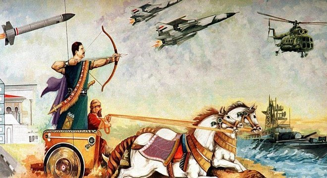 Convencido a estabelecer uma relação entre seu governo e os babilônios, Saddam Hussein encomendou este mural de si próprio numa carruagem