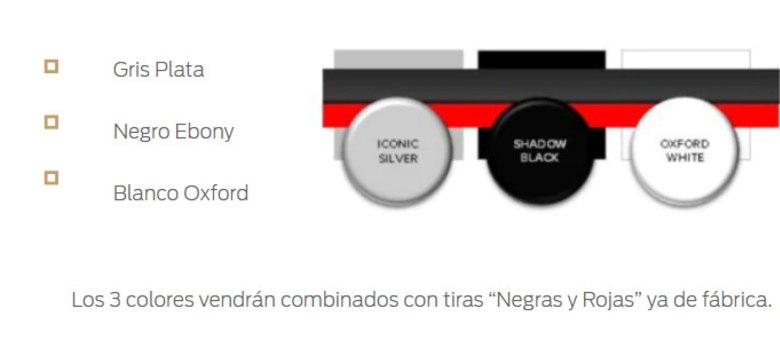 As 3 cores virão combinadas com faixas pretas e vermelhas de fábrica