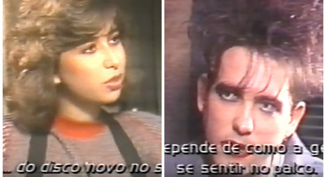 Mylena Ciribelli, em 1987, entrevistando Robert Smith, vocalista do The Cure