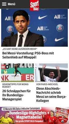 Na Alemanha, o Bild também comenta da situação de Mbappé e destaca apresentação de Messi