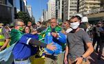 Na Avenida Paulista, outro grupo de manifestantes fez ato em apoio presidente Bolsonaro