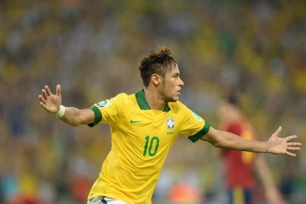 Na grande final da Copa das Confederações, contra a badalada Espanha, em um Maracanã lotado, o Brasil fez 3 a 0 com dois gols de Fred e um de Neymar Jr